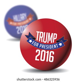 Dawing of Hillary and Trump buttons. Original button designs.