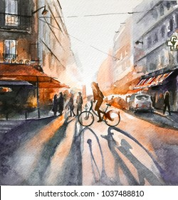 dawn in the city. cyclist. watercolor