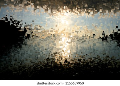 dawn in Ibiza, Tribute to Pollock, abstract expressionism, art, digital, abstract illustration with mosaic effects of gradient colors white, gray, black,
