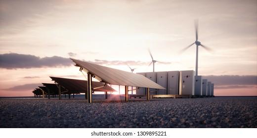 Die Dämmerung neuer Technologien für erneuerbare Energien. Moderne, ästhetische und effiziente dunkle Solarpaneele, ein modulares Energiespeichersystem und ein Windturbinensystem in warmem Licht. 3D-Darstellung.