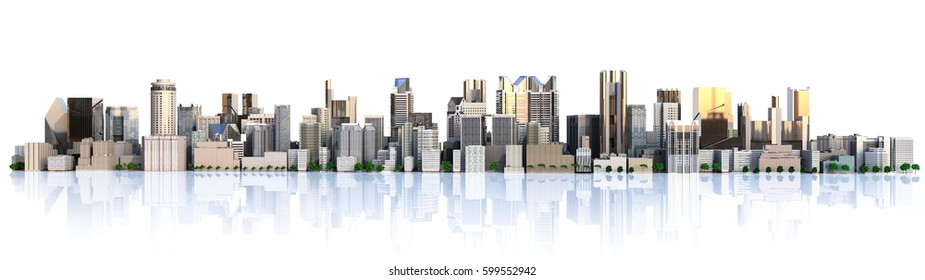 Day city with reflection 3d rendering image