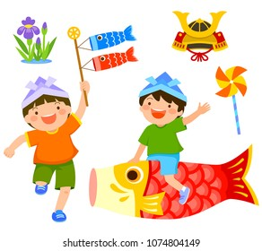 Japan's children's day clip art set. Boy riding a carp and another boy holding koinobori
