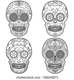Day of The Dead colorful Skull with floral ornament. Mexican sugar skull set