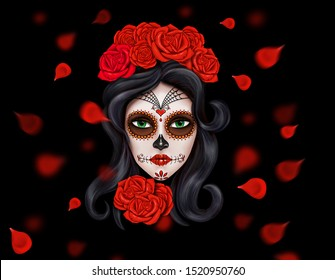 Day of the dead, Dia de los muertos. Girl with makeup - sugar skull with rose flowers. Lettering Dia de los muertos. Banner or poster for mexican celebration.