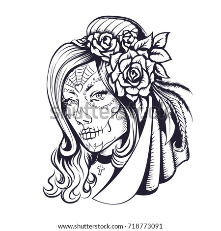 Day Dead Makeup Girl Flowers Hair Stockillustration 718773091 ...