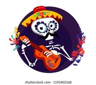Day of the dead Postcard illustration. Mexican Dia de los Muertos.