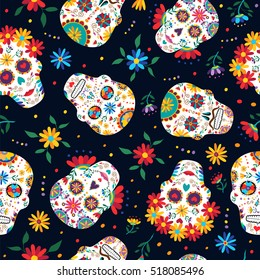 Day of the dead seamless pattern with traditional mexican sugar skull decoration, flowers and colorful art.