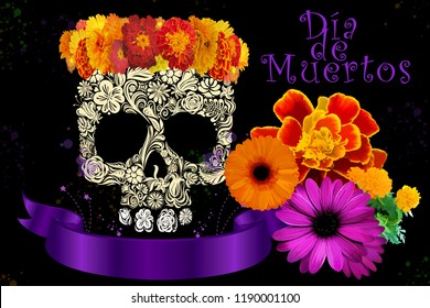 Day of the dead skull with Cempasuchil flower for the mexican dead celebration