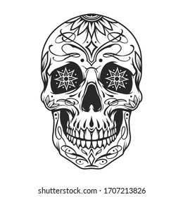 Day of the Dead sugar skull with floral ornament and flowers instead of eyes in vintage monochrome style isolated illustration
