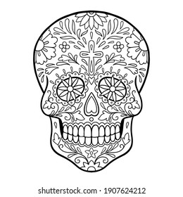 Day of The Dead sugar skull tattoo. Coloring page