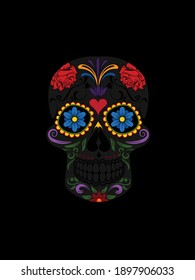 day of the Dead tattoo design with black background