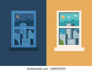 Day and night city concept. Flat style illustration.