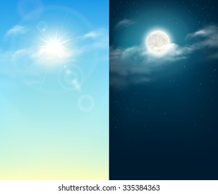 Day and night illustration. Sky background. Rasterized Copy