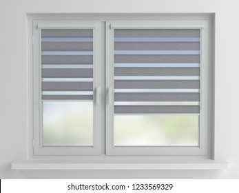 Day and Night Roller Blind, 3D illustration