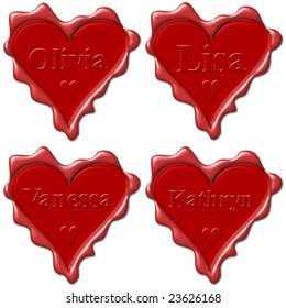 Day Valentine love hearts with names: Olivia, Lisa, Vanessa, Kathryn