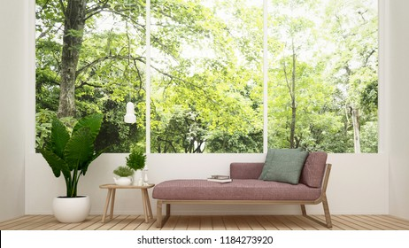 Daybed in living room and nature view - Living room in house or apartment on forest view background - Interior simple design - 3D Rendering