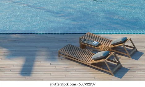 Daybed on the Swimming pool waters outdoor at sunlight  - 3d rendering