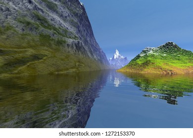 Daylight, 3d rendering, an alpine landscape, rocks, a snowy mountain, reflection on the water and a blue sky.