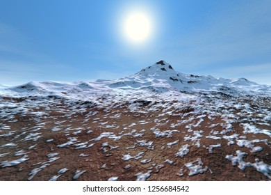 Daylight, 3d rendering, a natural landscape, snow on the mountain and a bright sun in the sky.