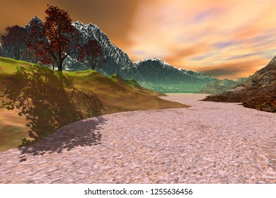 Daylight on the desert, 3d rendering, an autumn landscape, trees with red and yellow leaves, snowy mountains and clouds in the sky.