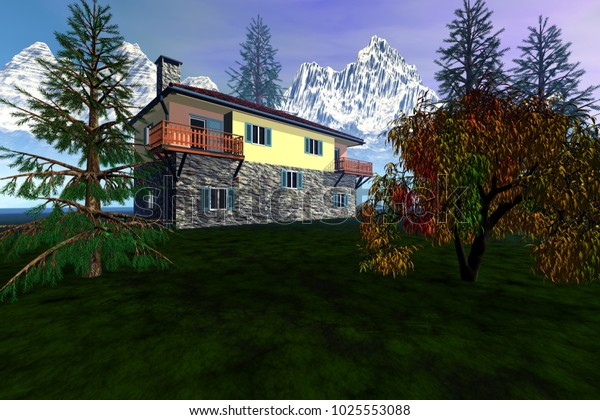 Daylight over the house, 3D rendering, grass on the ground, beautiful trees, snowy mountains in the background and a fantastic sky.