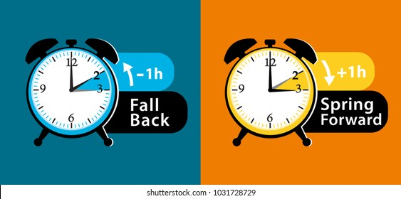 Daylight saving time. Summer fall back and spring forward alarm clocks set. Colorful illustration.