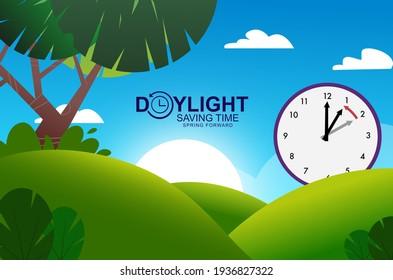 Daylight Savings Time Clock on a sunny green hill