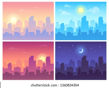 Daytime cityscape. Morning, day and night city skyline landscape, town buildings in different time and urban cityscape town sky. Architecture silhouette  background collage set
