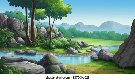 Daytime forest illustration