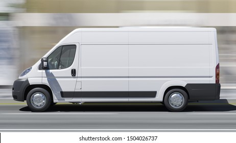 Daytime Rendering of a White Delivery Van on the Move 3D Rendering