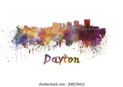 Dayton skyline in watercolor splatters with clipping path