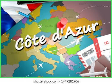 Côte d'Azur city travel and tourism destination concept. France flag and Côte d'Azur city on map. France travel concept map background. Tickets Planes and flights to Côte d'Azur holidays French