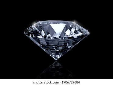 Dazzling diamond on black background. 3D render