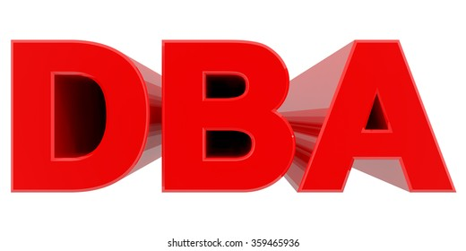 DBA word on white background 3d rendering