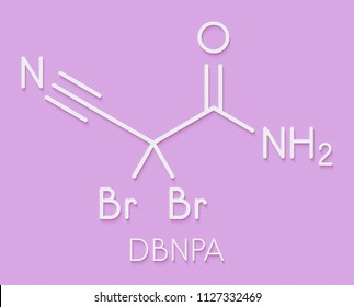 DBNPA (2,2-dibromo-3-nitrilopropionamide) biocide, chemical structure. Quick-kill biocide that rapidly breaks down in water. Skeletal formula.