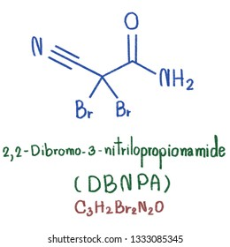DBNPA or 2,2-dibromo-3-nitrilopropionamide is a quick-kill biocide that easily hydrolyzes under both acidic and alkaline conditions. It is preferred for its instability in water. illustration