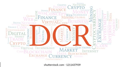 DCR or Decred cryptocurrency coin word cloud.