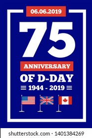 D-day 75th anniversary of the naval landing operation during the Second World War by the forces of the USA, Great Britain, Canada. illustration