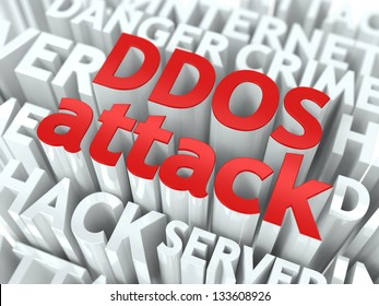 DDOS Attack Concept. The Word of Red Color Located over Text of White Color.