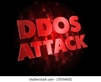 DDoS Attack - Red Color Text on Dark Digital Background.