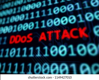 DDoS attack red message on computer screen 3D rendered with depth of field