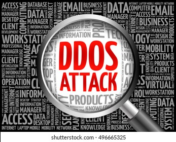 DDOS Attack word cloud with magnifying glass, business concept 3D illustration