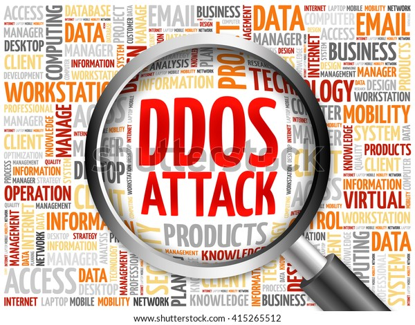 DDOS Attack word cloud with magnifying glass, business concept