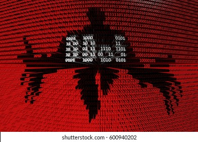 DDoS horror in the form of binary code, 3D illustration