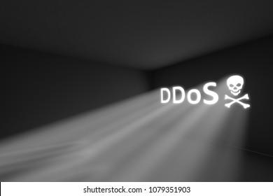 DDoS skull rays volume light concept 3d illustration