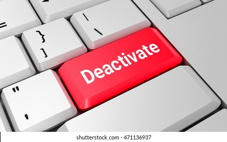 Deactivate button. Keyboard. Red key. Red button. 3D rendering
