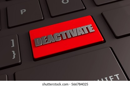 deactivate red keyboard entek key, 3d illustration