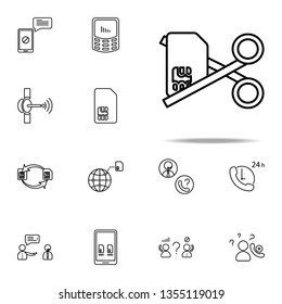 Deactivation sim card scissors icon. Telecommunication icons universal set for web and mobile