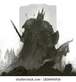 The dead king has risen from the grave to protect the kingdom. Knight dead man illustration sketch.