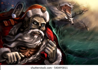 Dead Santa in town with his rein deers. Celebrating the new year.